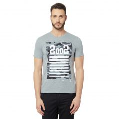 Fitz Grey Round Neck T-Shirt For Mens (Code - A18TS7010HB)