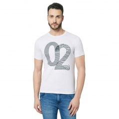 Fitz White Round Neck T-Shirt For Mens (Code - A18TS7011GM)