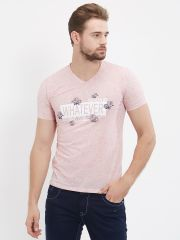Fitz  Pink V-Neck T-Shirt For Mens (Code - S18TS7074PI)