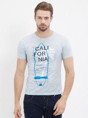 Fitz  Blue Round Neck T-Shirt For Mens (Code - S18TS7075BU)