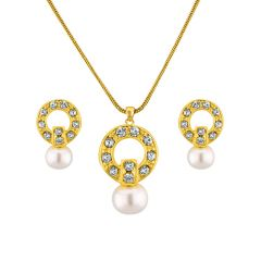 Sri Jagdamba Pearls Cz Trend Setter Necklace Set Code 6414 - Return Gifts
