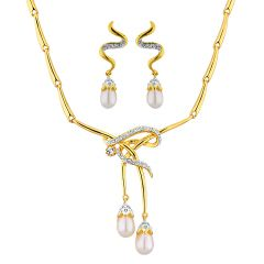 Sri Jagdamba Pearls  CZ Double Drop Pendant Set    Code 6441