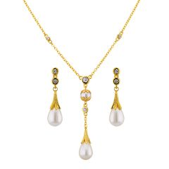 Sri Jagdamba Pearls Cz Elegant Pendant Set Code 8723 - Return Gifts