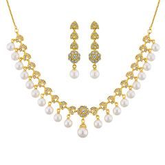 Sri Jagdamba Pearls Cz Princess Necklace Set Code 8737 - Jewellery