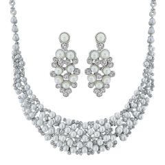 Pearl Necklaces - Sri Jagdamba Pearls Charming Pearl Necklace Set Code 8739