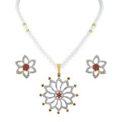 Sri Jagdamba Pearls Flower Cz Pearl Pendant Set Code Ad-132p - Return Gifts