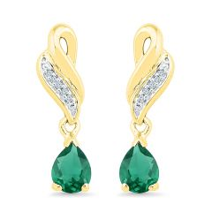 Sri Jagdamba Pearls Stylish Emerald Earrings ( Code-ef102498-lem ) - Valentine Gifts For Her