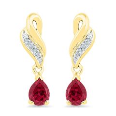 Sri Jagdamba Pearls Valentines Special Ruby & Diamond Earrings ( Code-ef102498-lru ) - Valentine Gifts For Her
