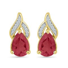 Sri Jagdamba Pearls Fantastic Ruby Earrings ( Code-ef103333-lru ) - Valentine Gifts