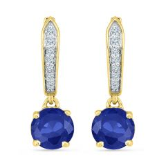Sri Jagdamba Pearls Lovely Blue Sapphire Earrings ( Code-eo102680-lbs ) - Valentine Gifts For Her
