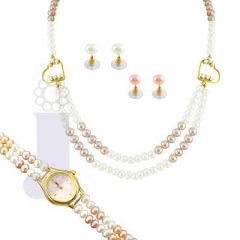 Jpearls Women's Clothing - jpearls double heart pearl set with watch