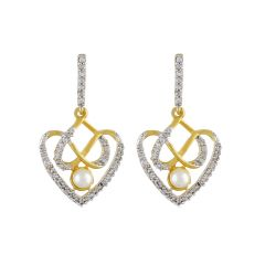 Sri Jagdamba Pearls Dual Heart Cz Earrings ( Code-jpdec-17-103 ) - Valentine Gifts For Her