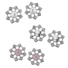 Sri Jagdamba Pearls combo of 3 pairs Flower shining Earrings(Code-JPJL-17-50C)