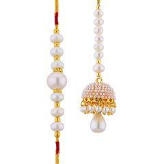 Sri Jagdamba Pearls Enchanting Pearl Rakhi With Lumba Code Jpjun-16-187c - Designer Rakhi