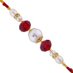 Sri Jagdamba Pearls Red Stones Fresh Water Pearl Rakhi Code Jpjun-16-192 - Thread Rakhi