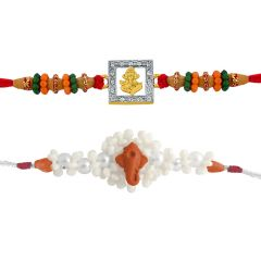 Sri Jagdamba Pearls Set Of 2 Rakhis Code Jpjun-16-199c - Thread Rakhi