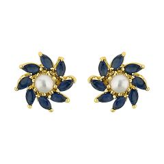 Sri Jagdamba Pearls Flower Pearl Earrings Code Jpjun-16-212 - Jewellery