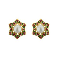 Sri Jagdamba Pearls  Shining Star Pearl Earrings   Code JPJUN-16-213