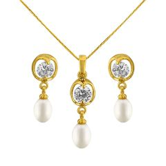 Sri Jagdamba Pearls Fizaa Drop Pendant Set Code Jpjun-16-230 - Jewellery