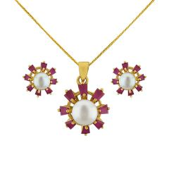 Sri Jagdamba Pearls Attractive Pendant Set   Code JPJUN-16-232