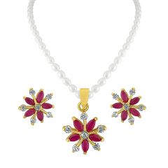 Sri Jagdamba Pearls Flowery Pendant Set Code Jpjun-16-234 - Return Gifts