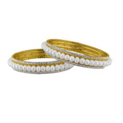 Sri Jagdamba Pearls Button Pearl With Cz Bangles Code Jpjun-16-260 - Jewellery