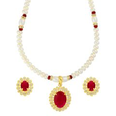 RED STONE PENDANT WITH PEARL NECKLACE BY SRI JAGDAMBA PEARLS (JPJUN-18-345 )