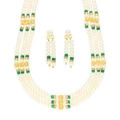GREEN COLOR STONE PEARL NECKLACE BY SRI JAGDAMBA PEARLS (JPJUN-18-447 )