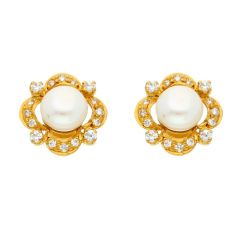 22KT ELEGANT GOLD EARRINGS BY SRI JAGDAMBA PEARLS (JPJUN-18-57 )