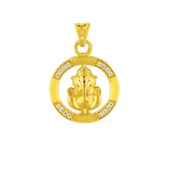 Sri Jagdamba Pearls Cz Ganesha Gold Pendant Code Jpmay-16-082 - Brothers In India