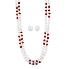 Jpearls Ruby Necklace Set