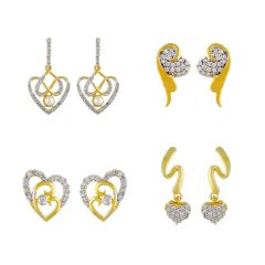 Sri Jagdamba Pearls Combo Of Four Pair Heart Earrings ( Code-jpvcp-18-01 ) - Valentine Gifts For Her