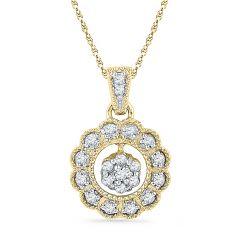 Jpearls 18kt Gold Sun Shine Diamond Pendant