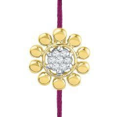 Sri Jagdamba Pearls Flower Diamond Pendant Cum Rakhi Code Pf015224ssra - Gold Rakhi