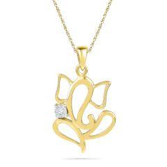 JPEARLS 18 KT GOLD PITAMBARA DIAMOND PENDENT