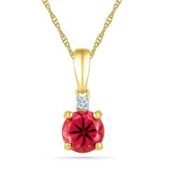 Sri Jagdamba Pearls Ruby 18Kt 2.05 Grams Gold & Diamond Pendant ( Code-PF101273-LRU )