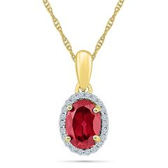 Sri Jagdamba Pearls Ruby With Diamond  Pendant ( Code-PF101588-LRU )