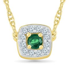 Sri Jagdamba Pearls Emerald 18Kt 1.67  Grams Gold & Diamond Pendant ( Code-PF201031-LEM )