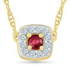 Sri Jagdamba Pearls Ruby 18Kt 1.67 Grams Gold & Diamond Pendant ( Code-PF201031-LRU )