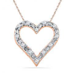 Jpearls 18 KT Rose Gold Sweet Heart Diamond Pendant