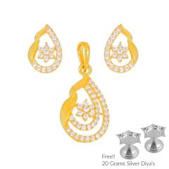 Sri Jagdamba Pearls Monumental 22Kt Gold Pendant Set(Code PS-4488)