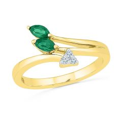 Sri Jagdamba Pearls Angel Emerald Finger Ring ( Code-RF103515-LEM )