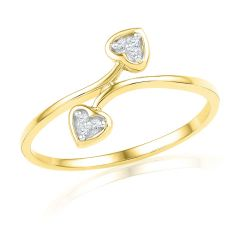 Jpearls 18kt Dual Heart Diamond Ring - Valentine Gifts For Her