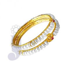 Pearl Bangles, Bracelets - jpearls cz button pearl bangles