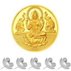 Gold Coins - Sri Jagdamba Pearls 24KT 1 Gram Laxmi Gold Coin Code SJPGC01-24NF