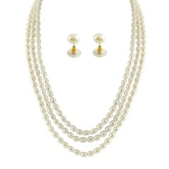 JPEARLS 3 STRING OVAL PEARL NECKLACE