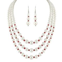 JPEARLS 3 STRING WHITE PEARL NECKLACE SET-SJPJN-225