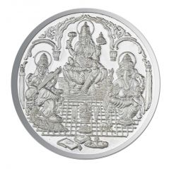 Jpearls 100 Grams Saraswathi Ganesh and Lakshmi Silver Coin 99.9 % Purity