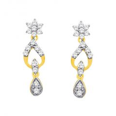 Nakshatra Yellow Gold Diamond Earrings DDE02171SI-JK18Y