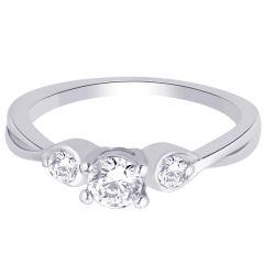 Hoop Silver With Cz Diamond Silver Ring For Womens Rf5012